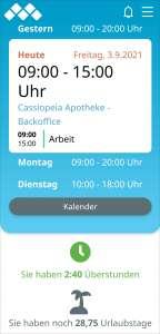 Dashboard der App